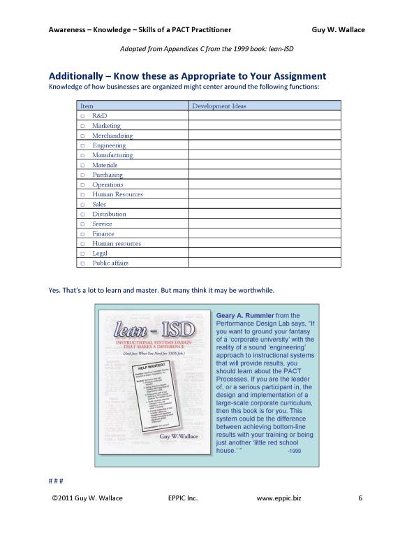 An Assessment Framework for Practicing Facilitator