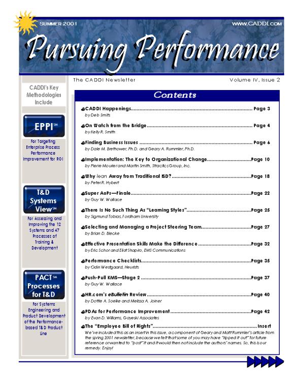 CADDI 2001 Summer Pursuing Performance Newsletter