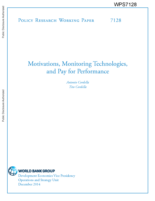 Free World Bank Research Report: Motivations, Monitoring ... on