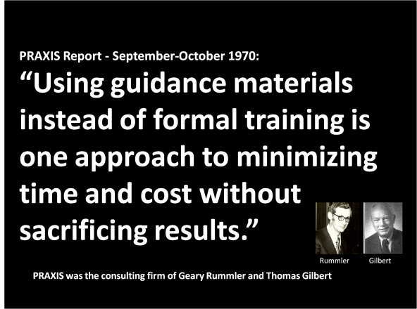 Guidance Materials - Rummler-Gilbert at PRAXIS 1970